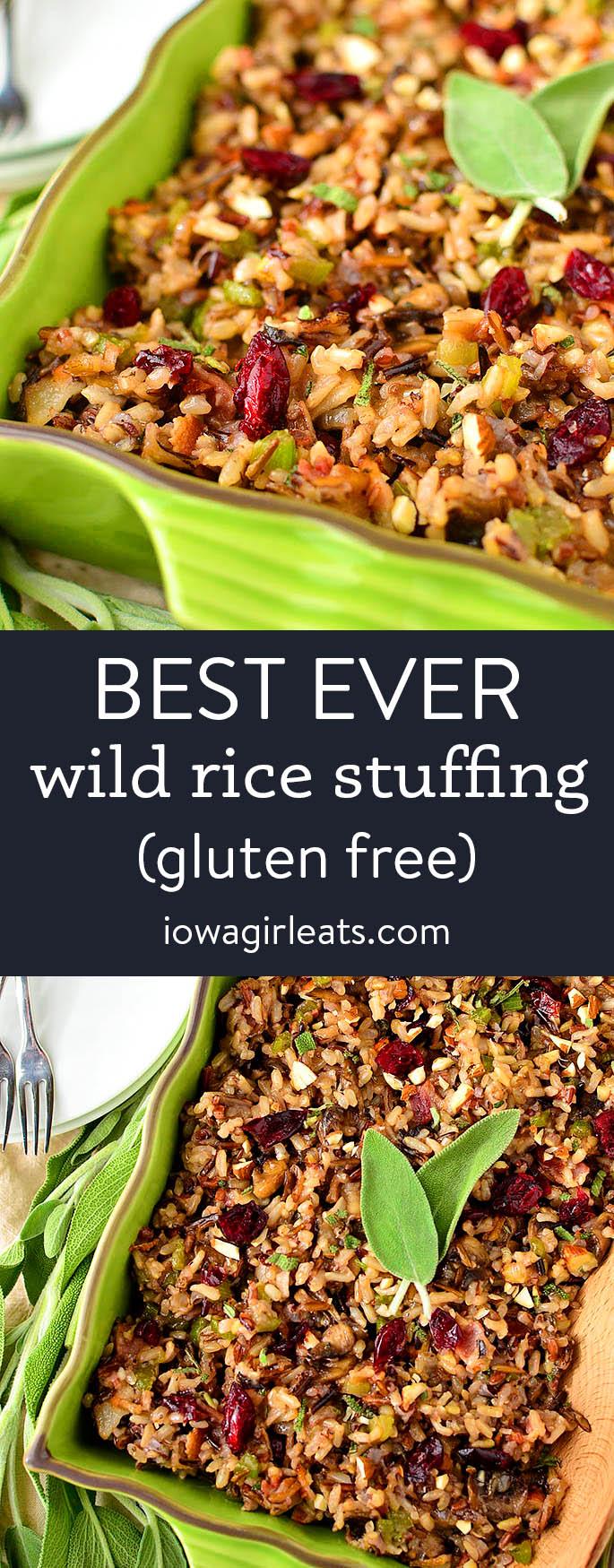 photo collage of gluten free wild rice stuffing