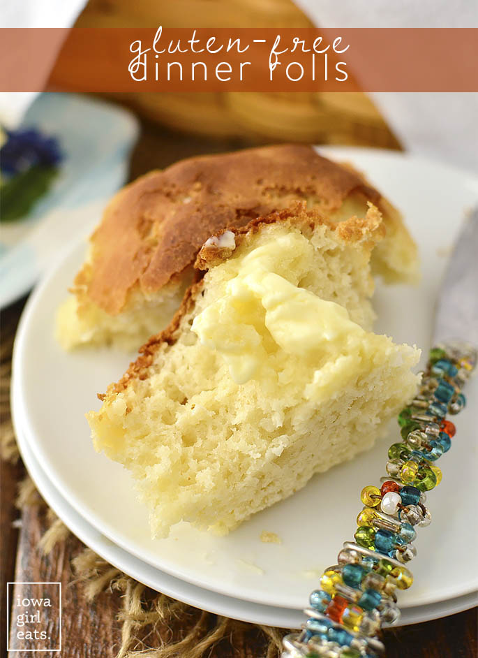 Gluten-Free Dinner Rolls are prepped in 5 minutes and bake in under 30 minutes. A soft, doughy, and totally craveable gluten-free side dish for dinner! | iowagirleats.com