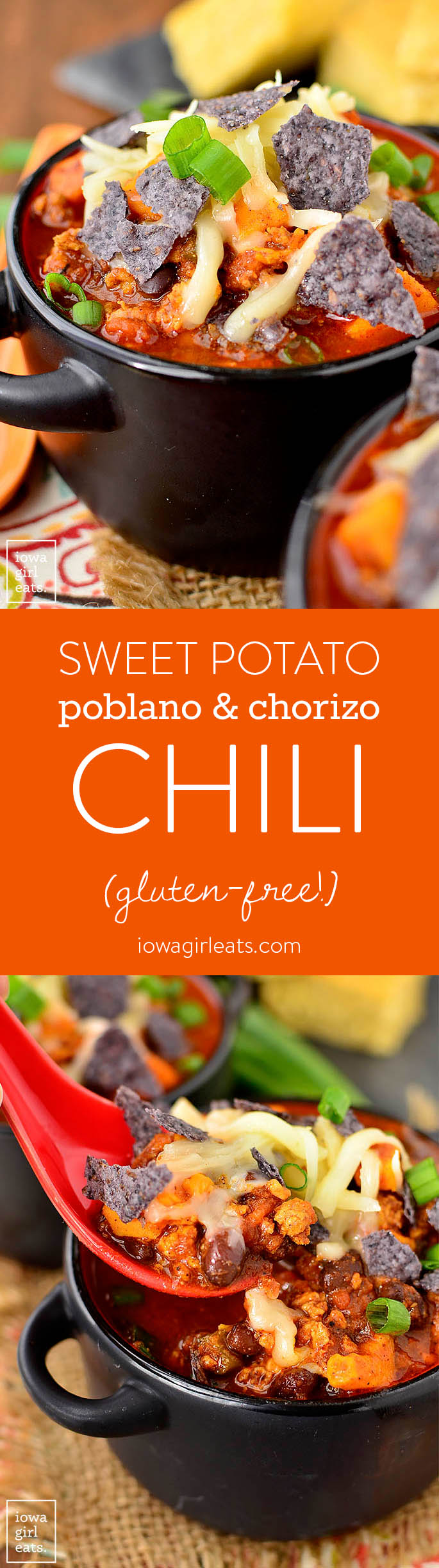 Sweet Potato, Poblano and Chorizo Chili is a southwest twist on classic chili with just the right amount of spice. Quick and easy to whip up, too!   iowagirleats.com