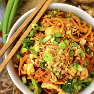 Thai Peanut Chicken and Sweet Potato Noodles
