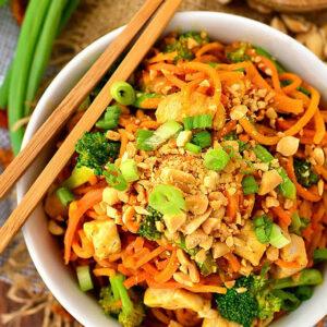 Thai Peanut Chicken Sweet Potato Noodles
