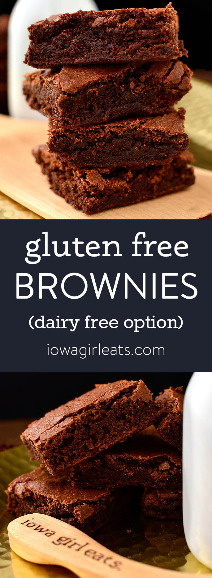 Photo collage of gluten free brownies