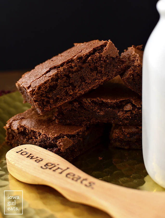 Fudgy center of Easy gluten free brownies
