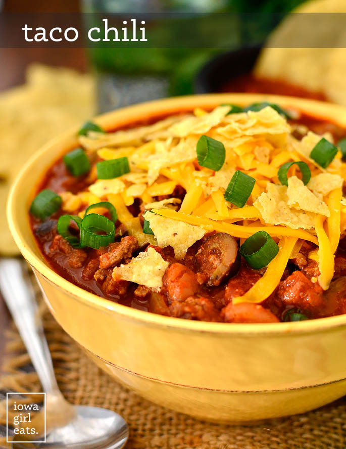 bowl of taco chili with toppings