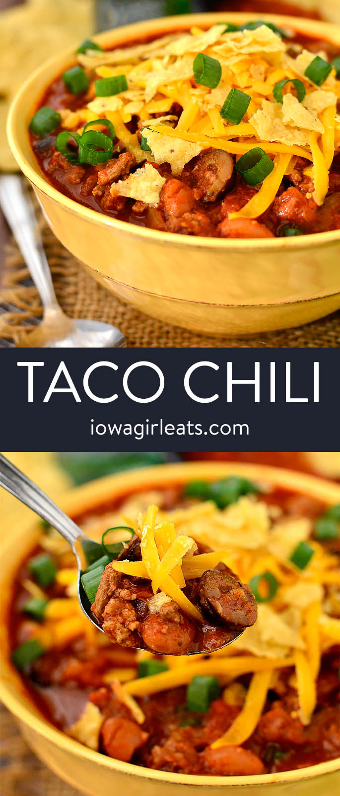 photo collage of taco chili in a bowl