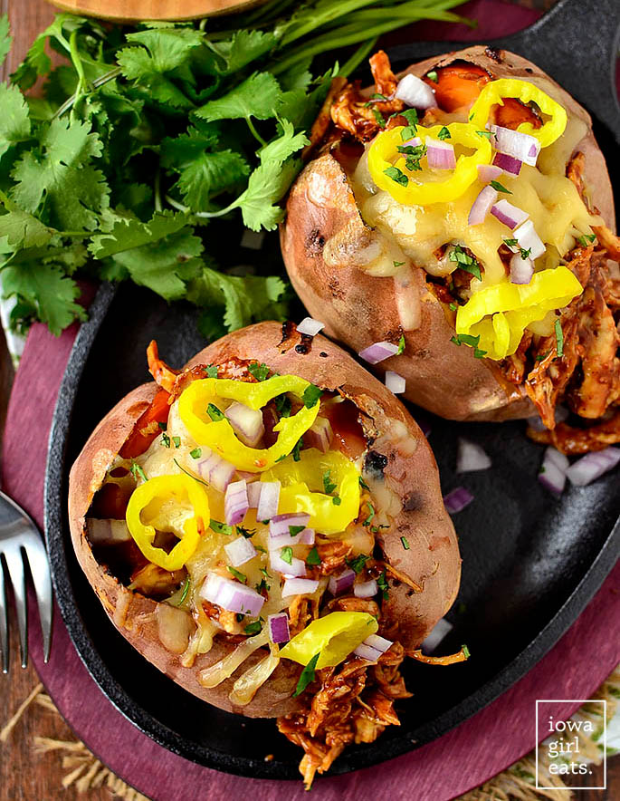 baked sweet potatoes stuffed with bbq chicken