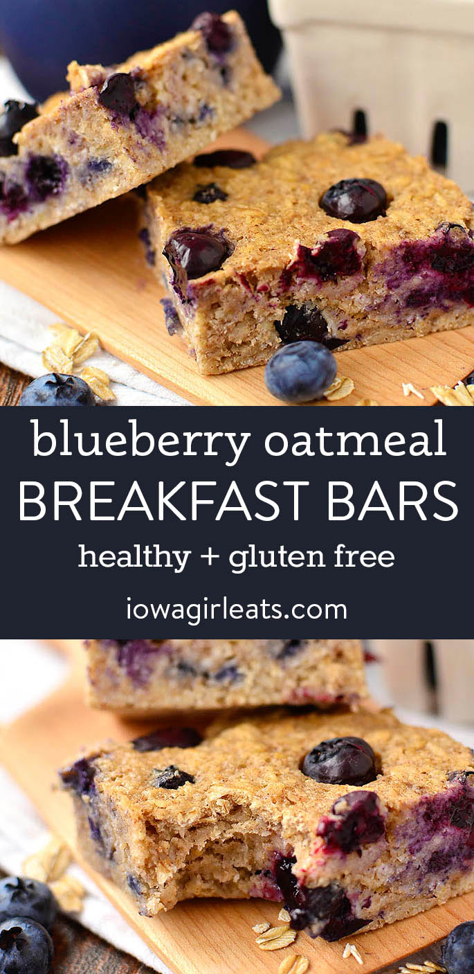 photo collage of blueberry oatmeal breakfast bars