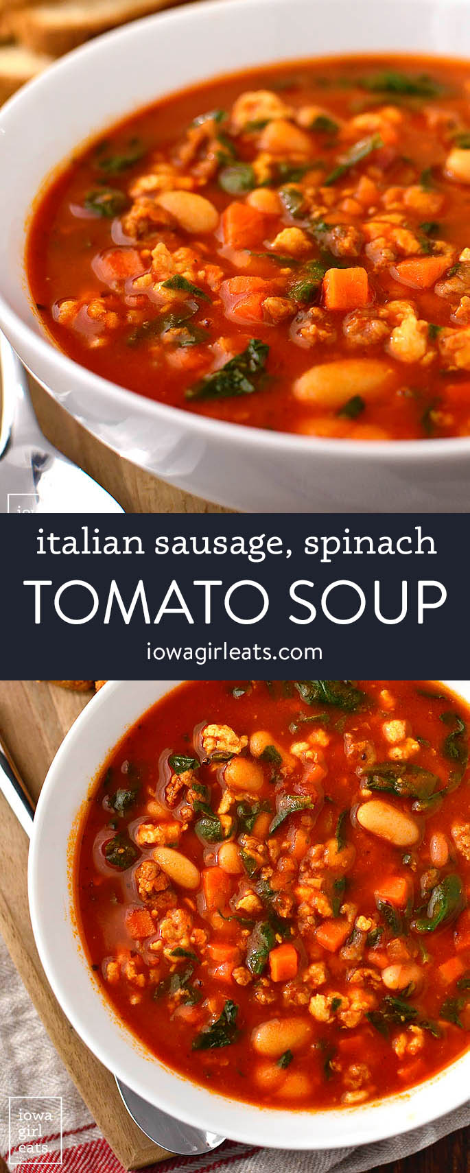 photo collage of italian sausage spinach and tomato soup