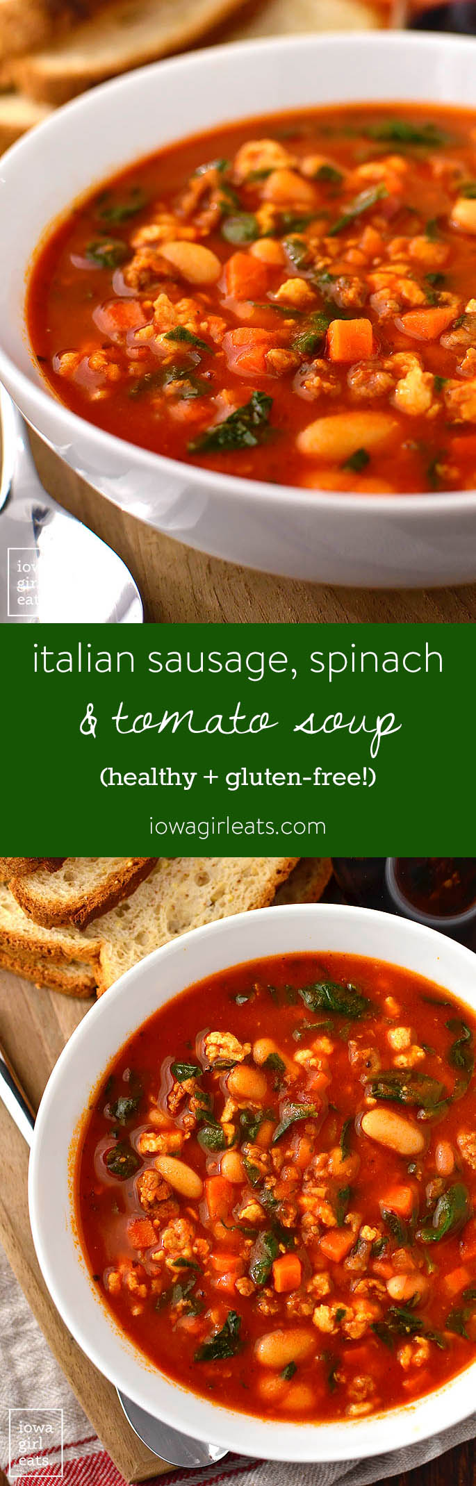 Italian Sausage, Spinach and Tomato Soup is a gluten-free soup recipe full of healthy, hearty ingredients. Just 30 minutes from fridge to table! | iowagirleats.com