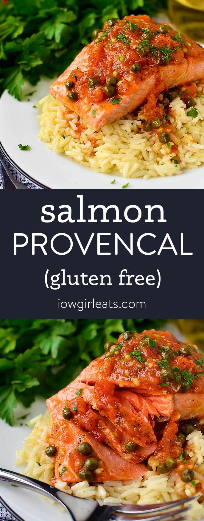 Photo collage of salmon provencal