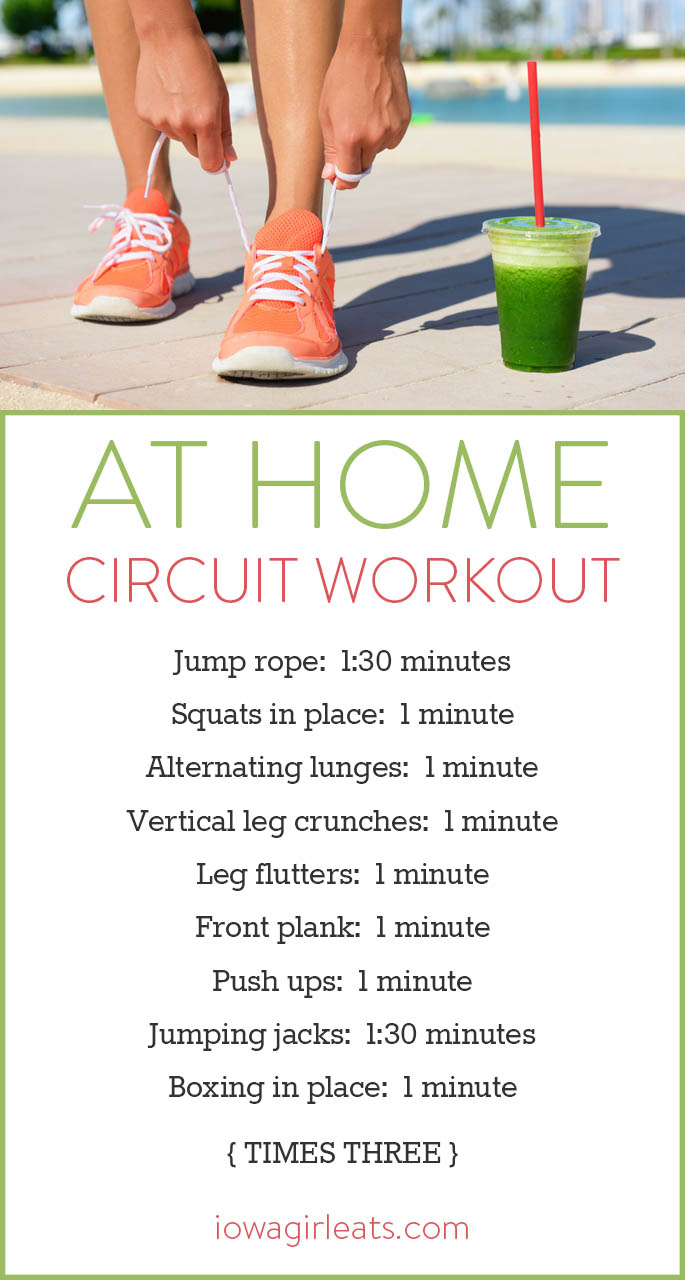 Try this free at home circuit workout to work your entire body - 30 minutes and your workout is done! No special equipment besides a jump rope necessary! | iowagirleats.com