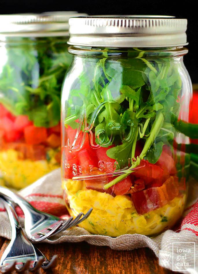 layered BLT egg salad in a jason jar
