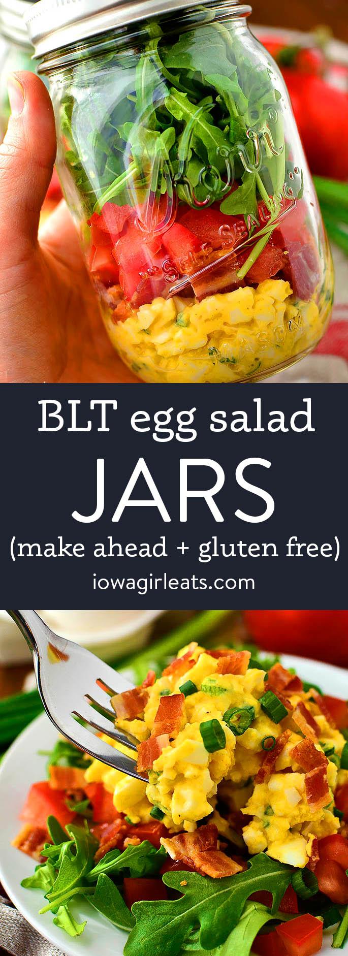 photo collage of blt egg salad jars
