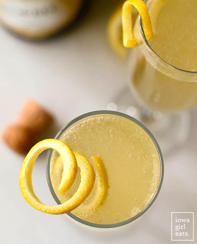overhead view of a glass of French 75