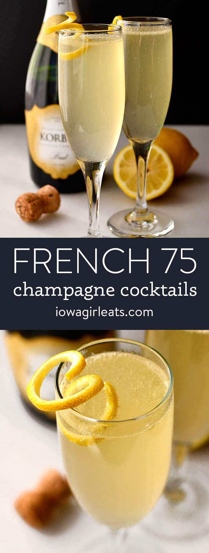 photo collage of French 75 champagne cocktails