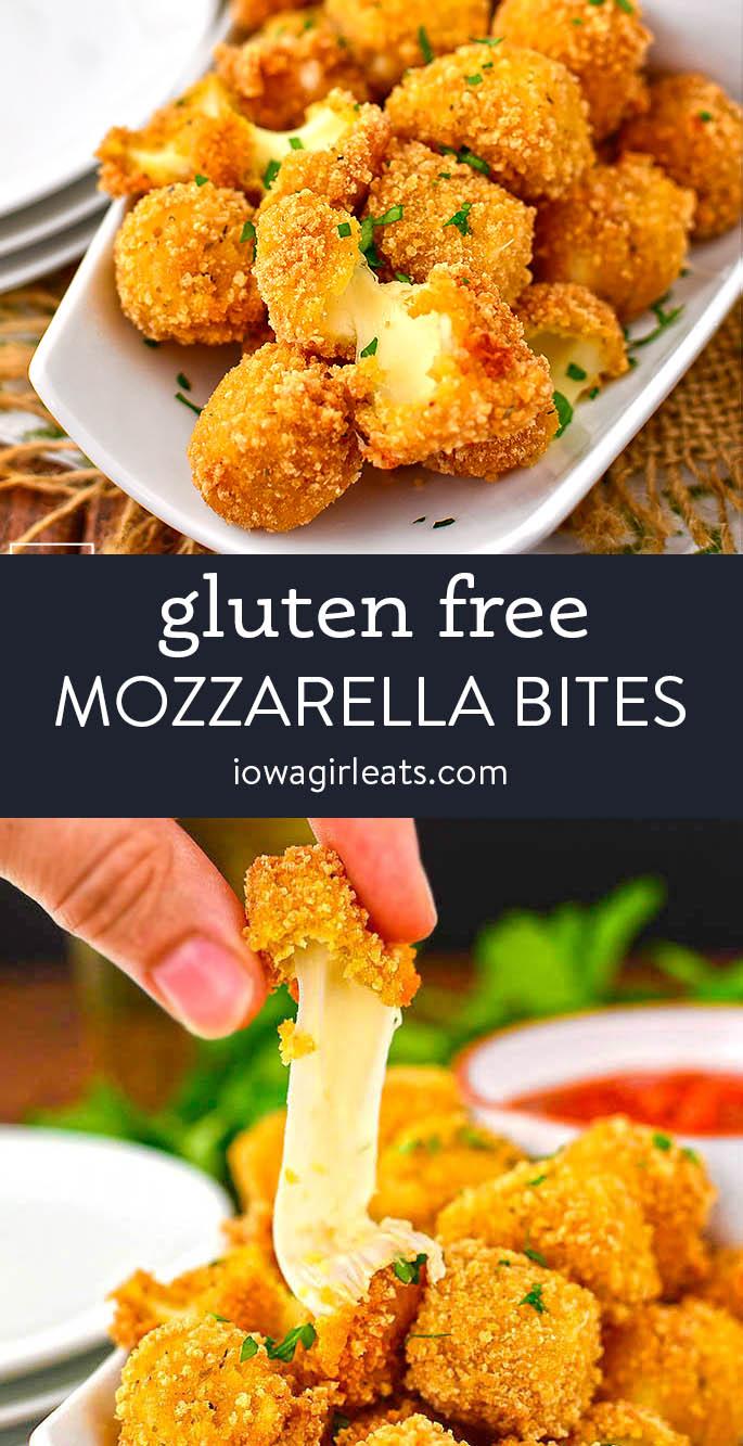 photo collage of gluten free mozzarella bites