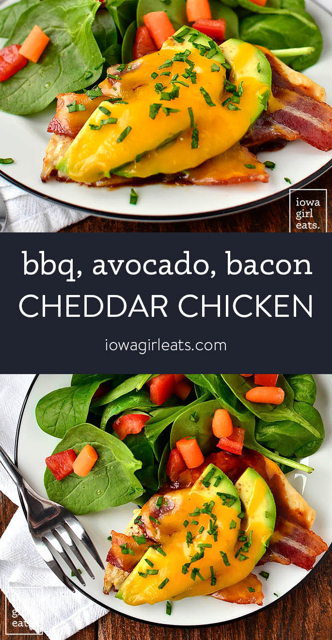 Photo collage of bacon cheddar chicken