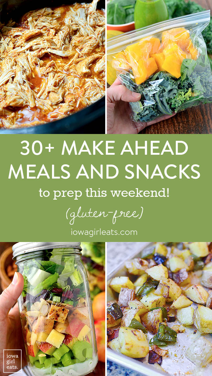 With a little work on the weekends, you can stock your fridge with healthy, ready to eat items to enjoy all week. Here are 30+ gluten-free, make-ahead meals and snacks to prep this weekend!   iowagirleats.com