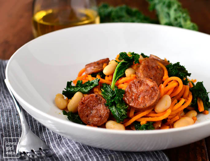 sweet potato noodles skillet with chicken sausage