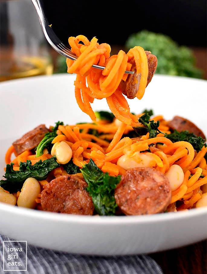 fork twirling sweet potato noodles