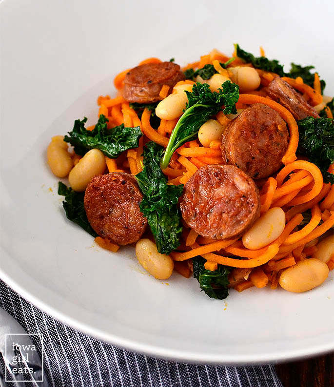 chicken sausage kale and white beans with sweet potato noodles