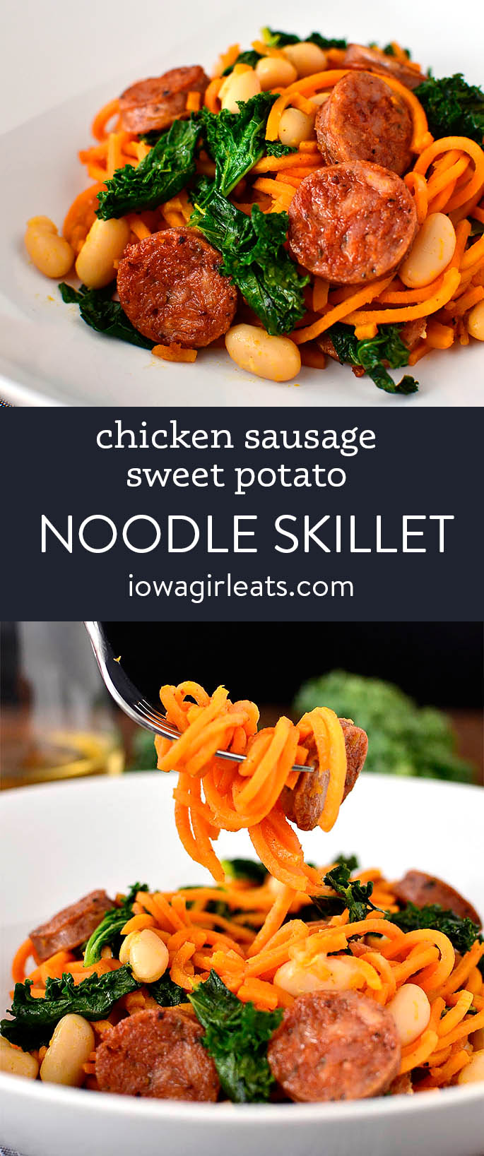 photo collage of chicken sausage sweet potato noodle skillet