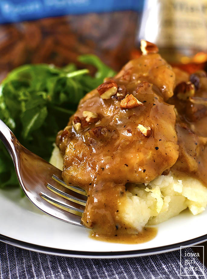 Maple Bourbon Pecan Chicken is sinfully delicious - you will lick your plate clean! This 1-skillet, gluten-free dinner recipe is ready in just 20 minutes.   iowagirleats.com