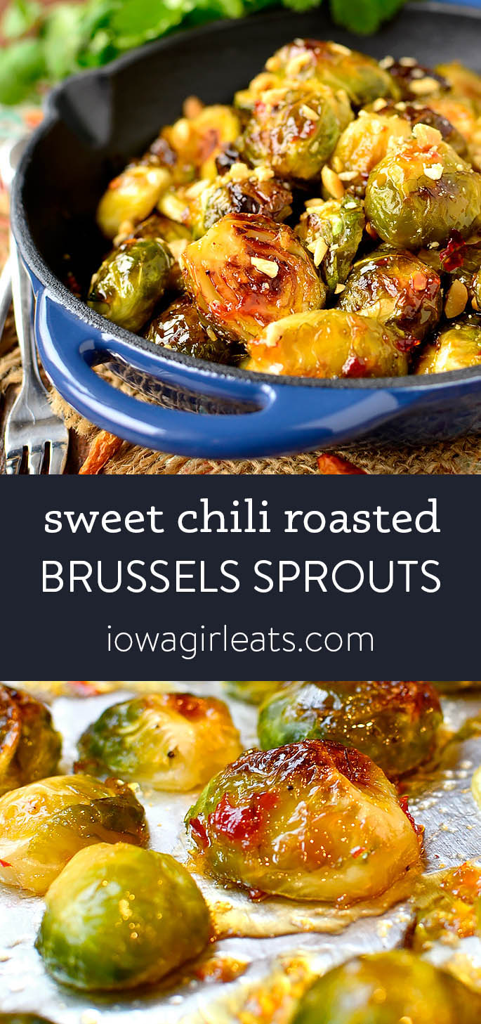 photo collage of Sweet Chili Roasted Brussels Sprouts