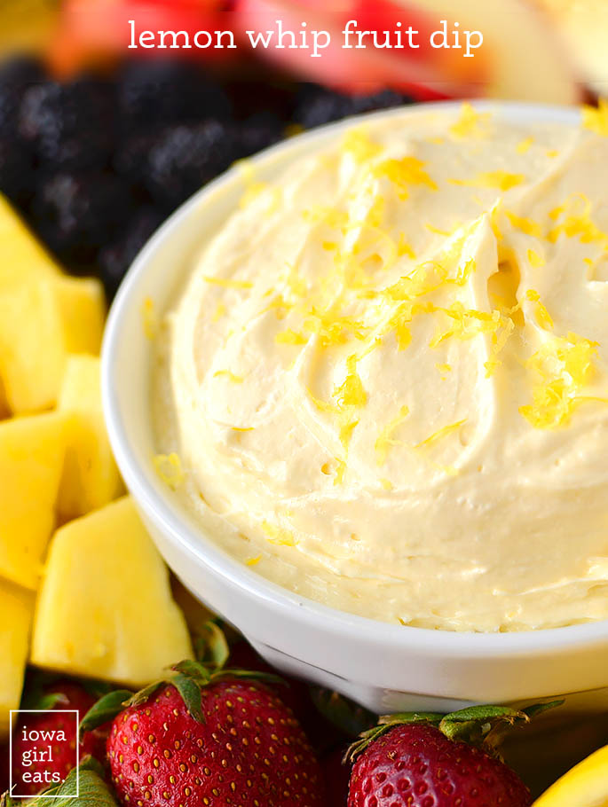 bowl of lemon whip fruit dip with fresh fruit dippers