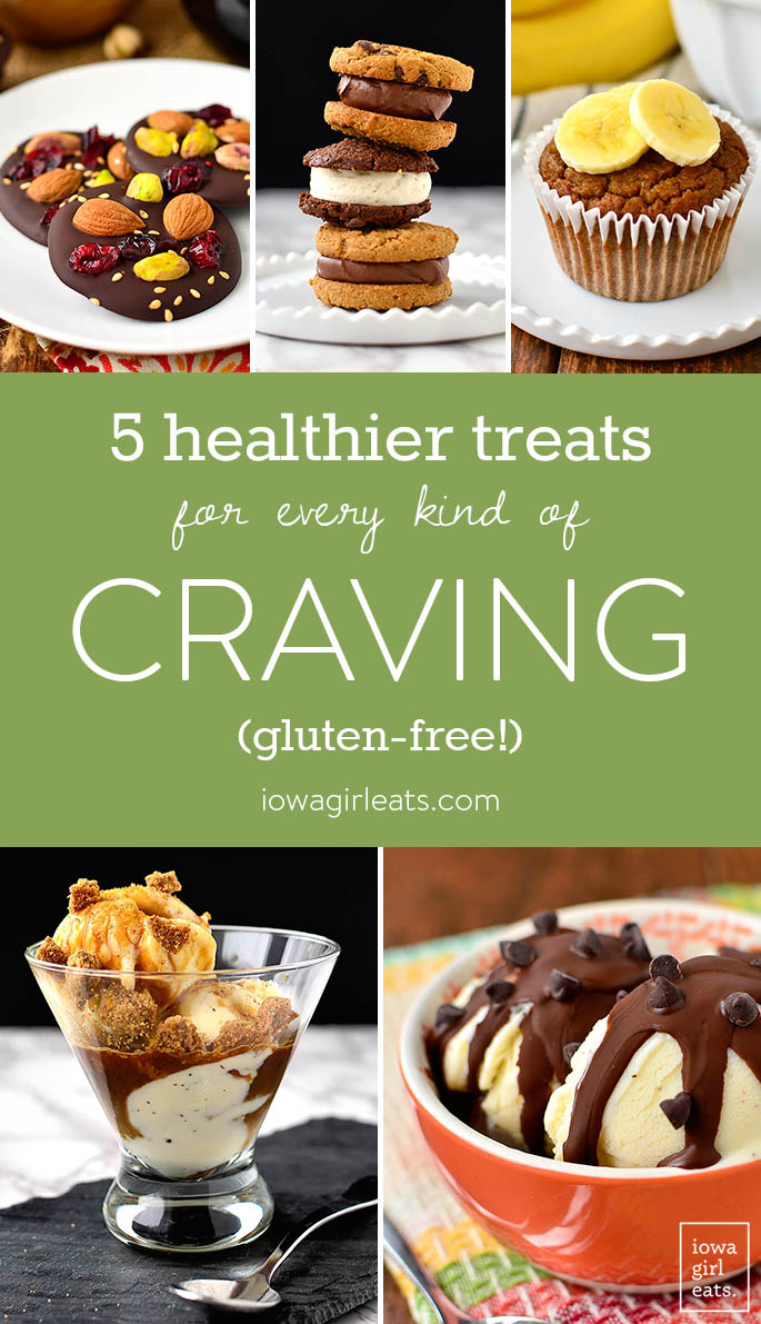 Craving chocolate? Ice cream, or cookies? Make any of my 5 healthier, gluten-free treats to squash any kind of dessert craving! | iowagirleats.com