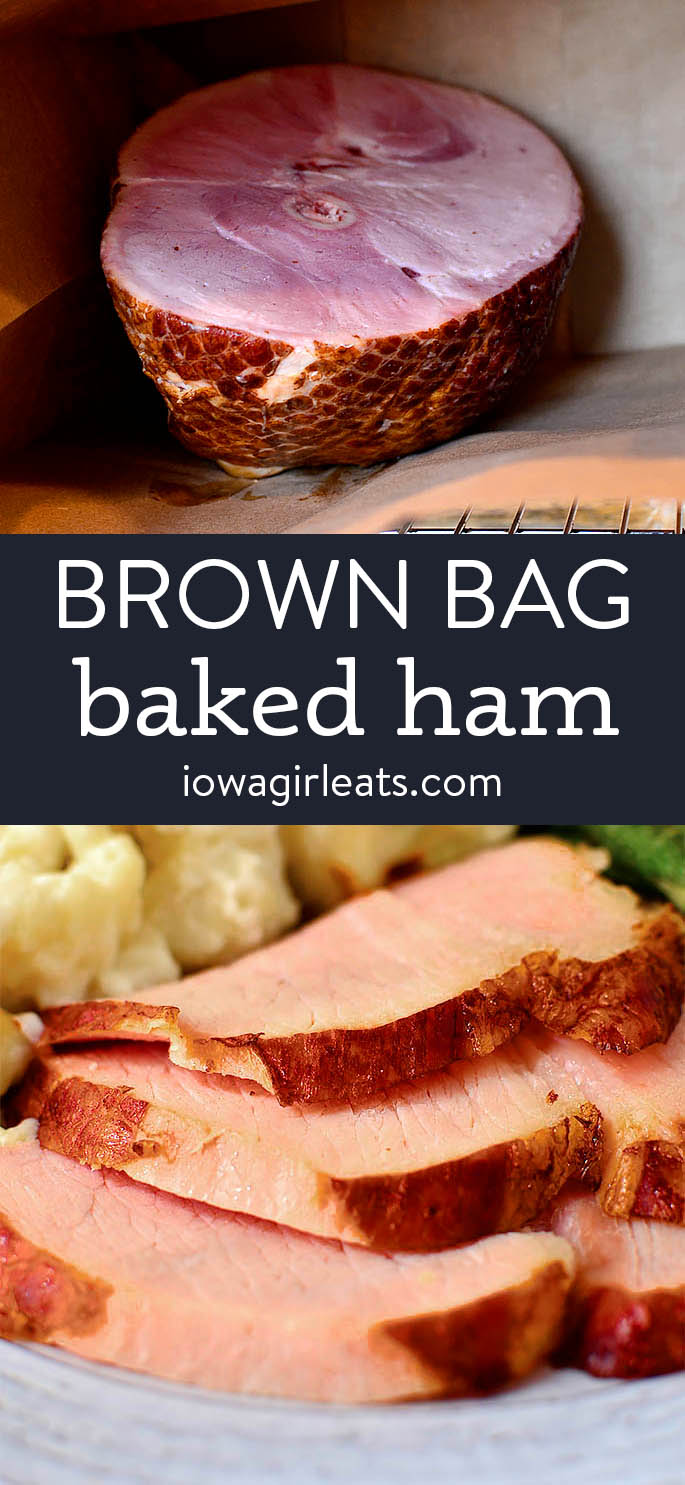 photo collage of brown bag baked ham