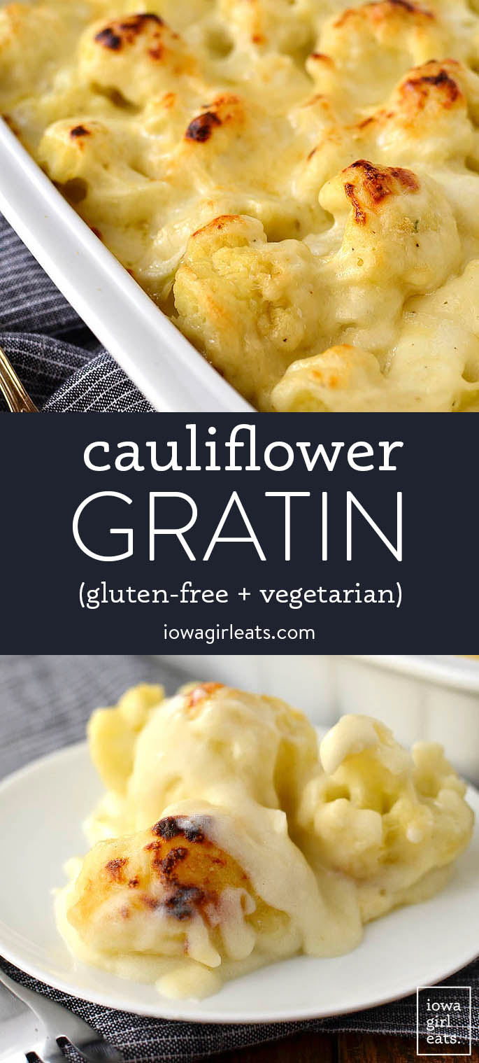 photo collage of cauliflower gratin