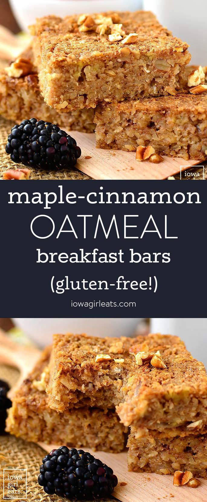 Photo collage of maple cinnamon oatmeal breakfast bars