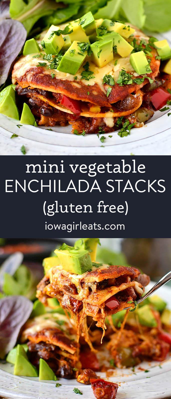 photo collage of vegetarian enchilada stacks