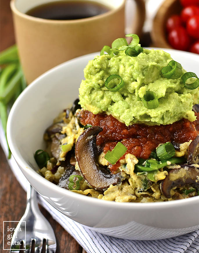 Start your day out with a punch of vegetable power! Very-Veggie Cauliflower Hash Brown Breakfast Bowl is a healthy vegetarian breakfast that satisfies.   iowagirleats.com
