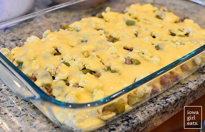 ingredients for breakfast taco casserole in a baking dish