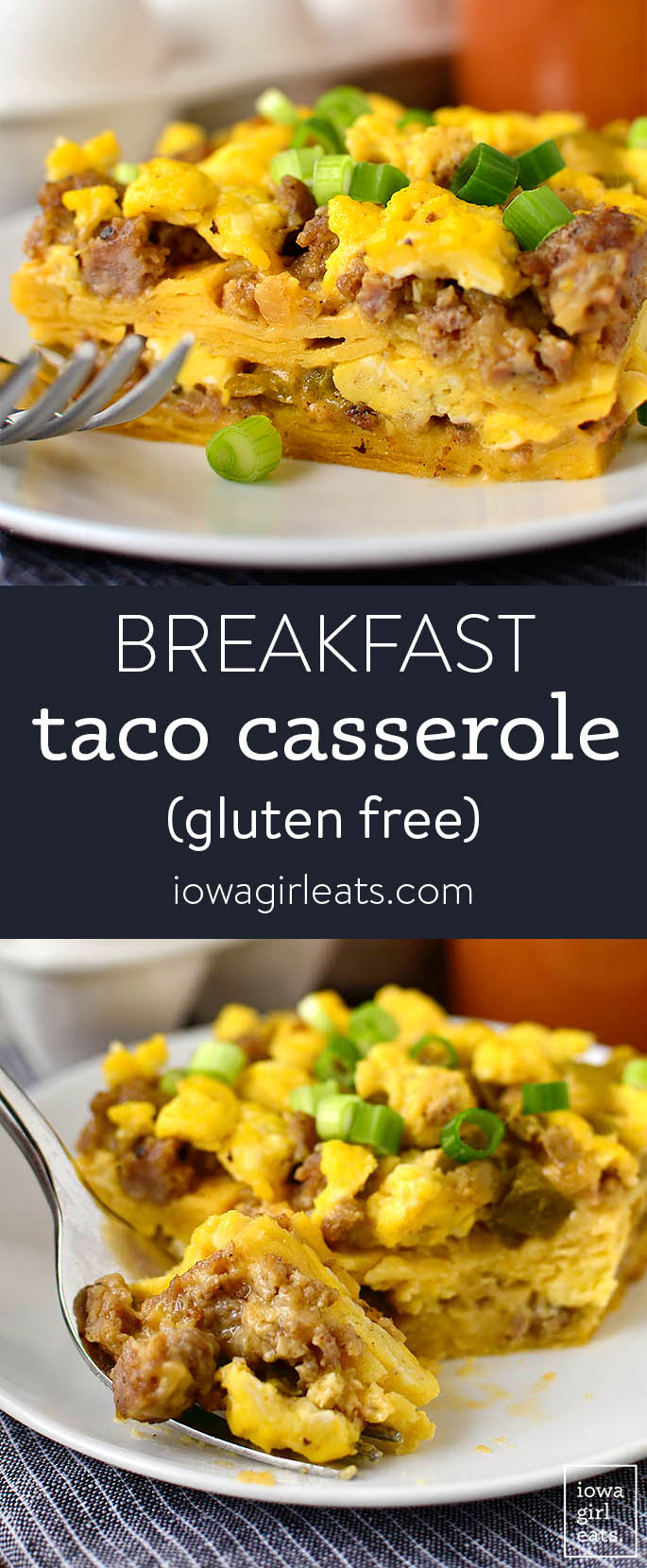 Photo collage of breakfast taco casserole