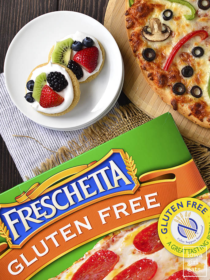 Customize pizza night with a pizza toppings bar plus Mini Fruit Pizza toppings bar! Fun, easy, and delicious. | iowagirleats.com