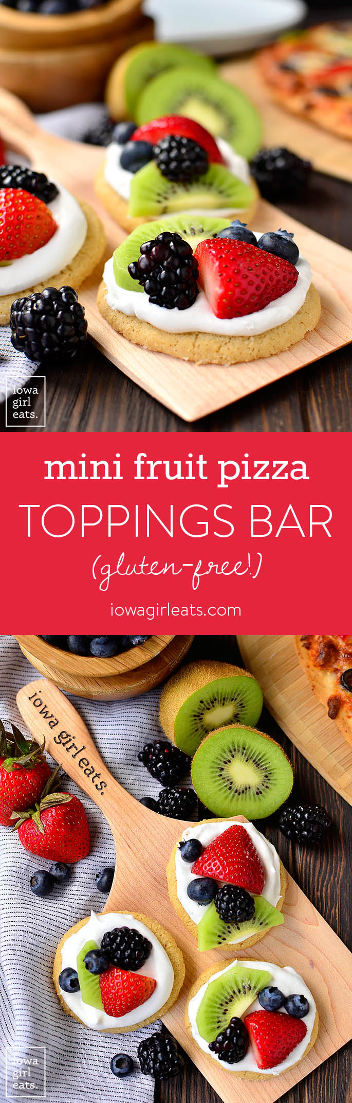 Customize pizza night with Mini Fruit Pizzas plus a DIY pizza toppings bar! This gluten-free dinner and dessert combo is fun, easy, and delicious. | iowagirleats.com