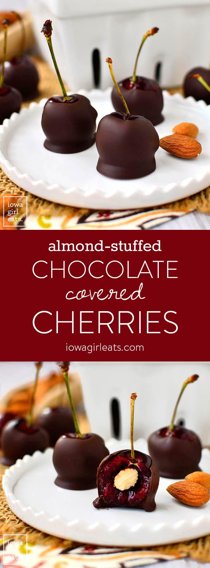 Almond-Stuffed Chocolate Covered Cherries is a simple, 3 ingredient, gluten-free dessert recipe that's ready in minutes! | iowagirleats.com