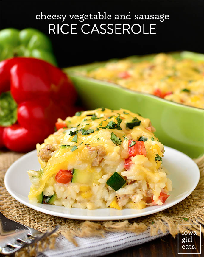 scoop of cheesy vegetable rice casserole on a plate