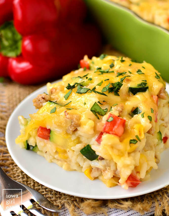 cheesy vegetable rice casserole on a plate