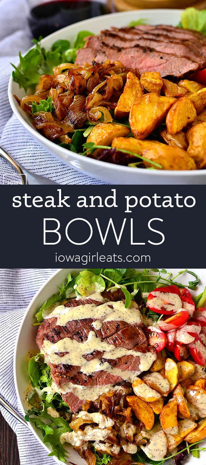 Photo collage of steak and potato bowls