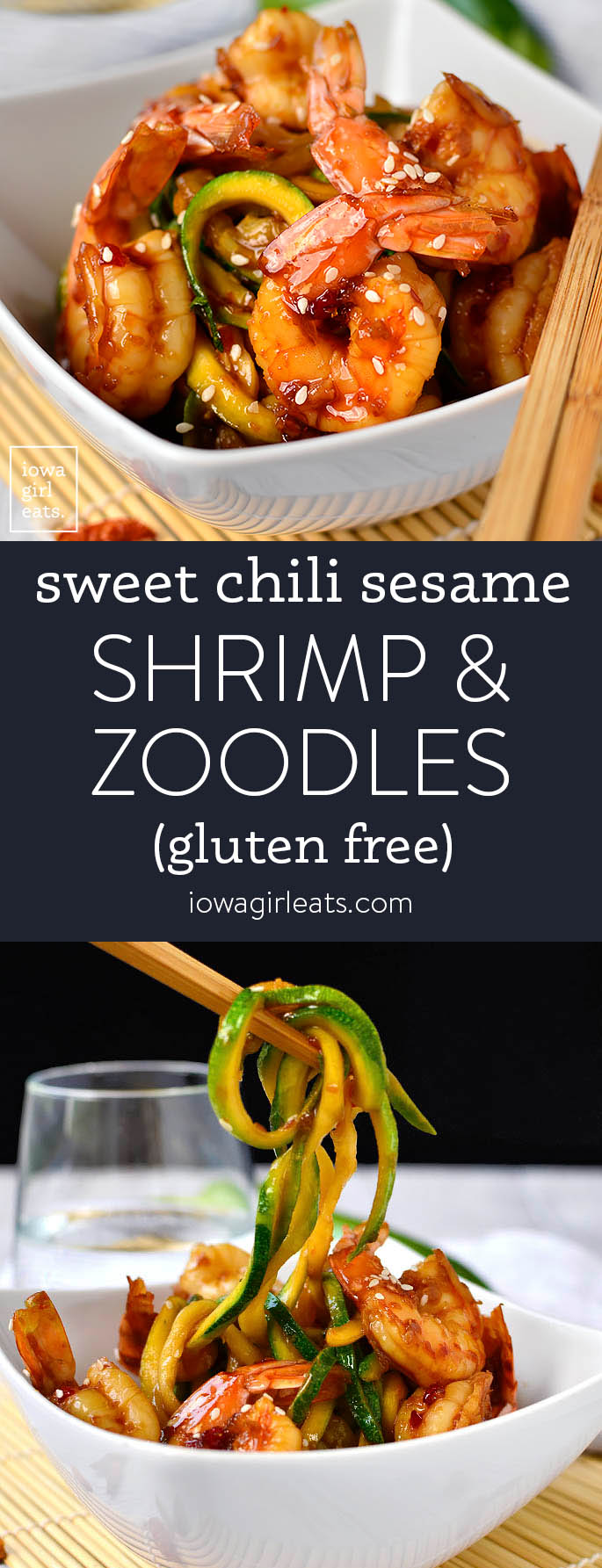 Photo collage of sweet chili shrimp and zoodles