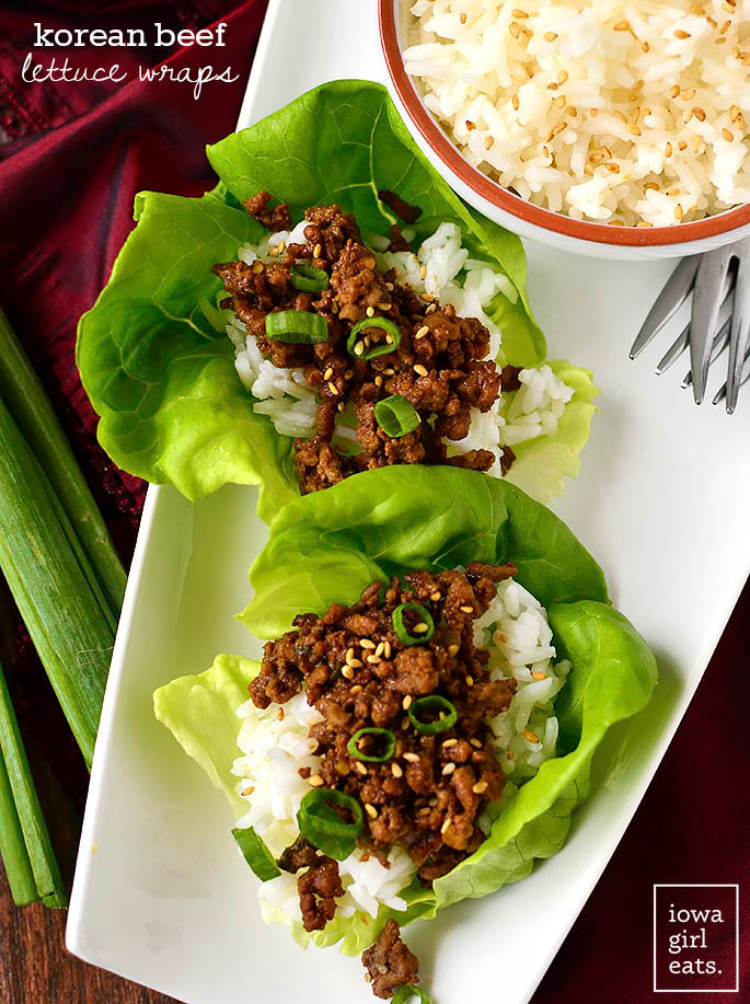 Overhead photo of Korean Beef Lettuce Wraps
