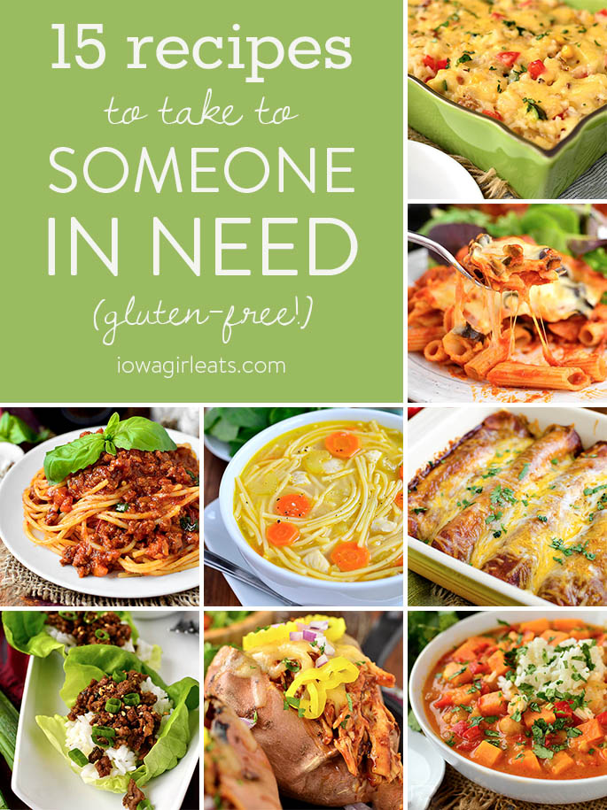 Show you care by making new parents, those recovering from surgery, or someone who needs a boost any of these 15 gluten-free recipes to take to someone in need.   iowagirleats.com