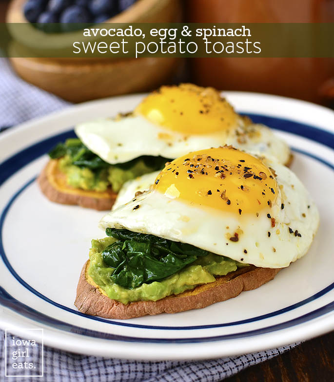 Avocado, Egg, and Spinach Sweet Potato Toasts