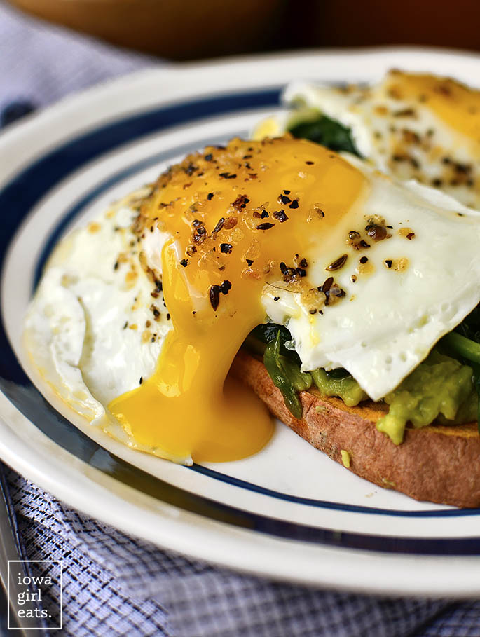 Drippy egg on top of a Sweet potato toast