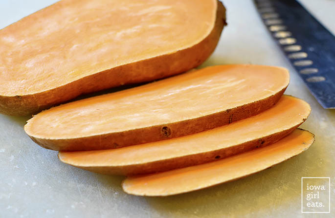Sliced sweet potato ready to be toasted