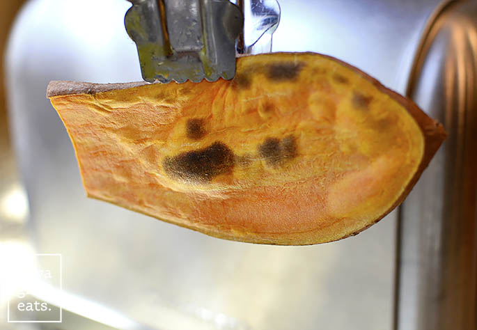 a toasted sweet potato slice